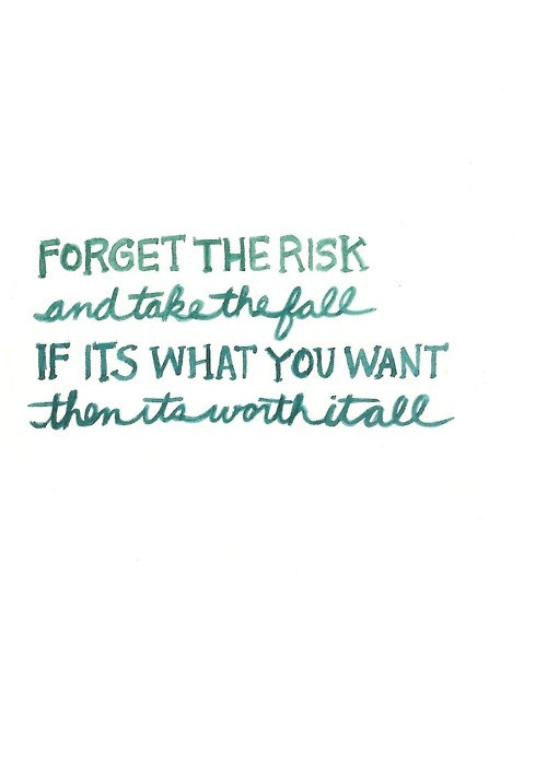 Afbeeldingsresultaat voor forget the risk and take the fall if it's what you want then it's worth it all